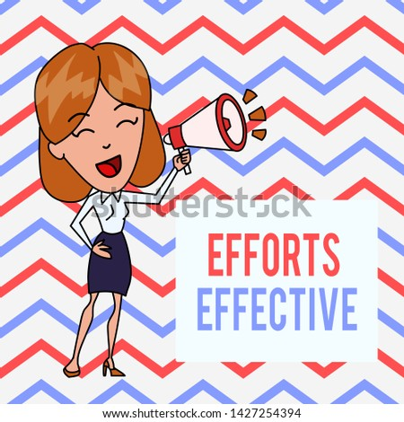 Writing note showing Efforts Effective. Business photo showcasing Produces the results as per desired Goal Target Achieve Young Woman Speaking in Blowhorn Colored Backgdrop Text Box.