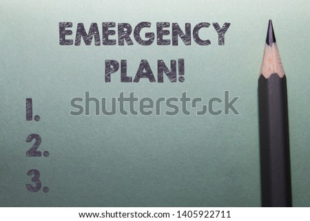 Writing note showing Emergency Plan. Business photo showcasing actions developed to mitigate damage of potential events Close up front view pencil lying on stationary sheet paper Writing.
