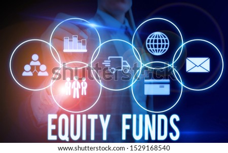 Writing note showing Equity Funds. Business photo showcasing type of mutual fund that buys ownership in businesses Woman wear formal work suit presenting presentation using smart device.