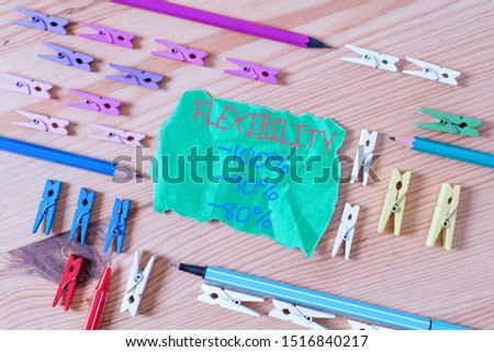 Writing note showing Flexibility 100 Percent 90 Percent 80 Percent. Business photo showcasing How much flexible you are maleability level Colored clothespin papers empty reminder wooden floor