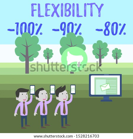 Writing note showing Flexibility 100 Percent 90 Percent 80 Percent. Business photo showcasing How much flexible you are maleability level SMS Email Marketing Media Audience Attraction PC Loudspeaker.