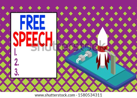 Writing note showing Free Speech. Business photo showcasing the right of showing to express their opinions publicly Ready to launch rocket lying smartphone. Startup negotiations to begin.