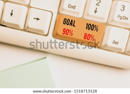 Writing note showing Goal 100 Percent 90 Percent 80 Percent. Business photo showcasing Percentage of your objectives fulfilment success level White pc keyboard with note paper above the white