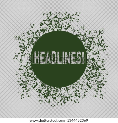 Writing note showing Headlines. Business photo showcasing Heading at the top of an article in newspaper Disarrayed Jumbled Musical Notes Icon with Colorful Circle.