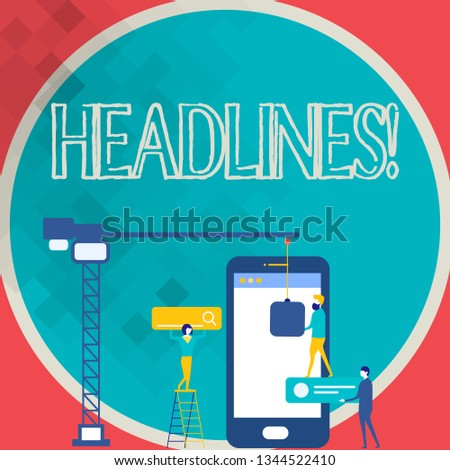 Writing note showing Headlines. Business photo showcasing Heading at the top of an article in newspaper Staff Working Together for Common Target Goal with SEO Process Icons.