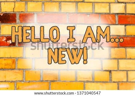 Writing note showing Hello I Am New. Business photo showcasing used as greeting or to begin telephone conversation Brick Wall art like Graffiti motivational call written on the wall.