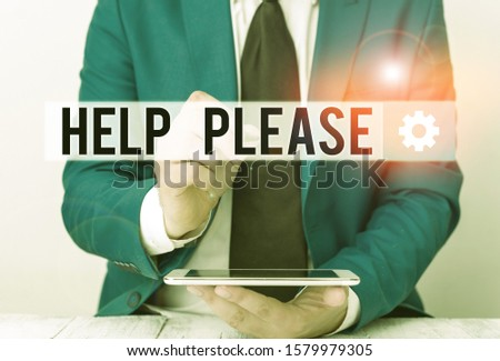 Writing note showing Help Please. Business photo showcasing used to make a request or deanalysisd for someone for assistance Businessman pointing with pen in empty copy space.