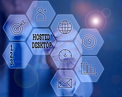 Writing note showing Hosted Desktop. Business photo showcasing product set within the larger cloudcomputing sphere.