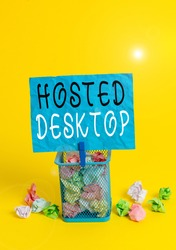 Writing note showing Hosted Desktop. Business photo showcasing product set within the larger cloudcomputing sphere Trash bin crumpled paper clothespin office supplies yellow.