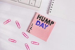 Writing note showing Hump Day. Business photo showcasing climbing a proverbial hill to get through a tough week Wednesday Empty note paper on the white background by the pc keyboard.