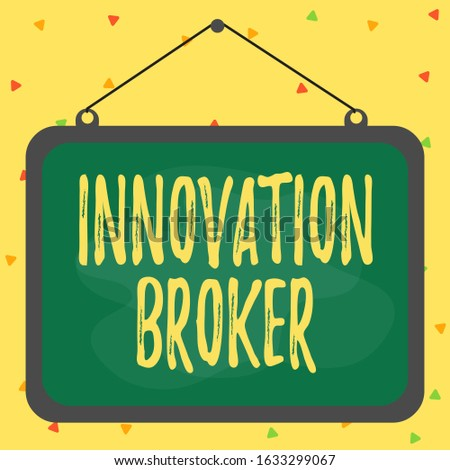 Writing note showing Innovation Broker. Business photo showcasing help to mobilise innovations and identify opportunities Asymmetrical uneven shaped pattern object multicolour design.