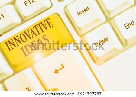 Writing note showing Innovative Ideas. Business photo showcasing application of better solutions that meet new requirements.