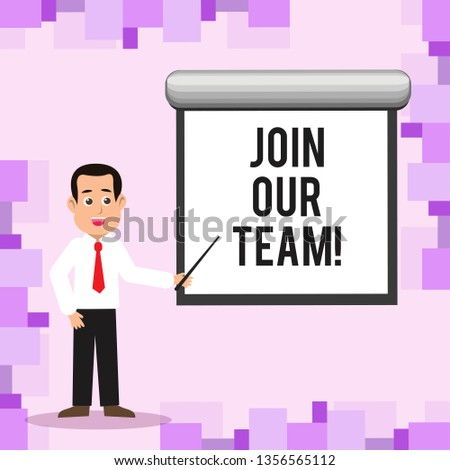 Writing note showing Join Our Team. Business photo showcasing Get over unemployment joining better career workforce Man in Necktie Holding Stick Pointing White Screen on Wall.