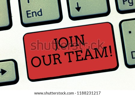Writing note showing Join Our Team. Business photo showcasing Hiring Vacancy Human resource recruitment Manpower hunt