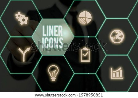 Writing note showing Liner Icons. Business photo showcasing use to improve visual interest and grab the user s is attention. #1578950851