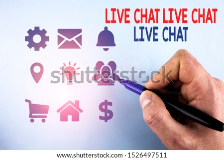 Writing note showing Live Chat Live Chat Live Chat. Business photo showcasing talking with showing friends relatives online Male designing layout presentation concept for business promotion.