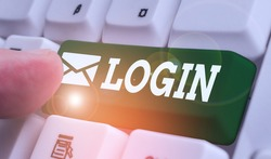 Writing note showing Login. Business photo showcasing Entering website Blog using username and password Registration.