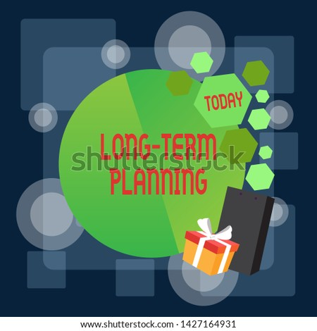 Writing note showing Long Term Planning. Business photo showcasing Establish Expected Goals five or more years ahead Greeting Card Poster Gift Package Presentation Box Decorated by Bowknot.