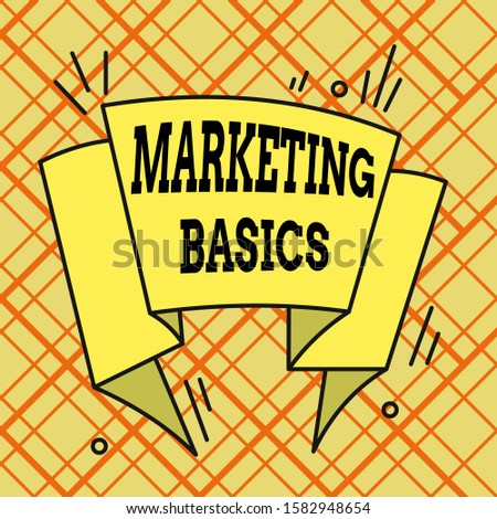 Writing note showing Marketing Basics. Asymmetrical uneven shaped pattern object multicolour design.