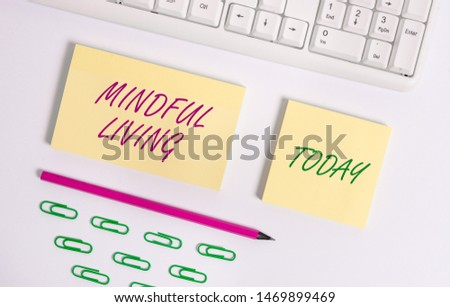 Writing note showing Mindful Living. Business photo showcasing Fully aware and engaged on something Conscious and Sensible Flat lay above blank copy space sticky notes with business concept. #1469899469