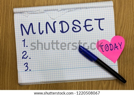 Writing note showing Mindset. Business photo showcasing Established set of attitudes held by someone Positive attitude Square Notebook ripped pages marker heart romantic ideas wooden table. #1220508067