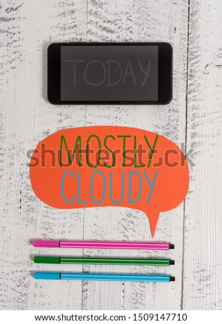 Writing note showing Mostly Cloudy. Business photo showcasing Shadowy Vaporous Foggy Fluffy Nebulous Clouds Skyscape Smartphone cell pens blank colored speech bubble wooden background. #1509147710