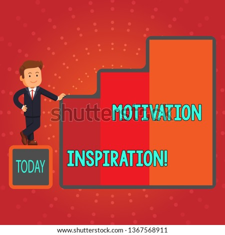 Writing note showing Motivation Inspiration. Business photo showcasing ability to change the way we feel about life Businessman Presenting Growth and Success in Graph Columns.