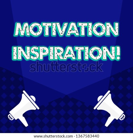Writing note showing Motivation Inspiration. Business photo showcasing ability to change the way we feel about life Blank Spotlight Crisscrossing Upward Megaphones on the Floor.