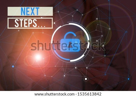 Writing note showing Next Steps . Business photo showcasing numper of process going to be made after current one planning Woman wear formal work suit presenting presentation using smart device. #1535613842