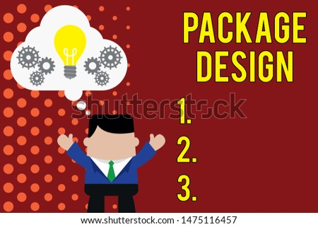Writing note showing Package Design. Business photo showcasing Strategy in creating unique product wrapping or container Man hands up imaginary bubble light bulb working together.