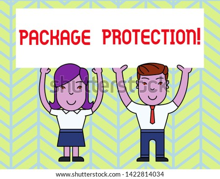 Writing note showing Package Protection. Business photo showcasing Wrapping and Securing items to avoid damage Labeled Box Two Smiling People Holding Poster Board Overhead with Hands.