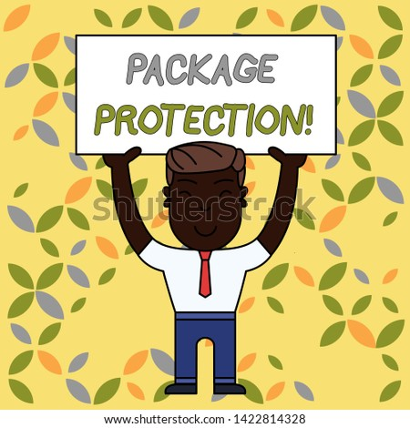 Writing note showing Package Protection. Business photo showcasing Wrapping and Securing items to avoid damage Labeled Box Smiling Man Standing Holding Big Empty Placard Overhead with Both Hands.