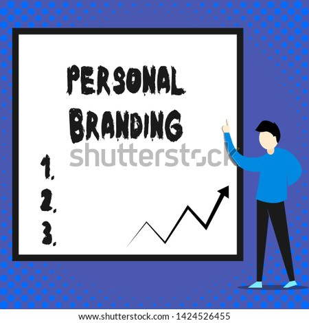 Writing note showing Personal Branding. Business photo showcasing Practice of People Marketing themselves Image as Brands Man standing pointing up blank rectangle Geometric background.