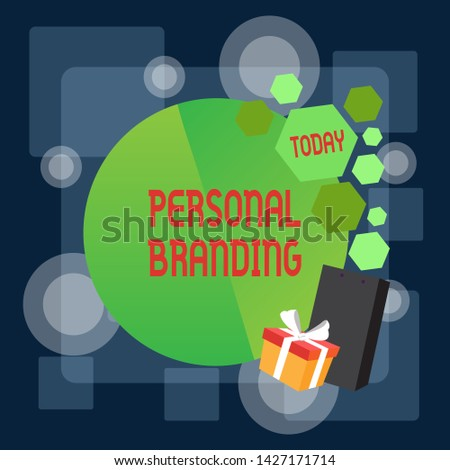 Writing note showing Personal Branding. Business photo showcasing Practice of People Marketing themselves Image as Brands Greeting Card Poster Gift Package Presentation Box Decorated by Bowknot.