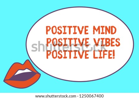 Writing note showing Positive Mind Positive Vibes Positive Life. Business photo showcasing Motivation inspiration to live Sensually Parted Red Lips wearing Lipstick and blank white oval board.