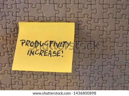 Writing note showing Productivity Increase. Business photo showcasing get more things done Output per unit of Product Input Square paper piece notation stick to textured glass window. #1436800898