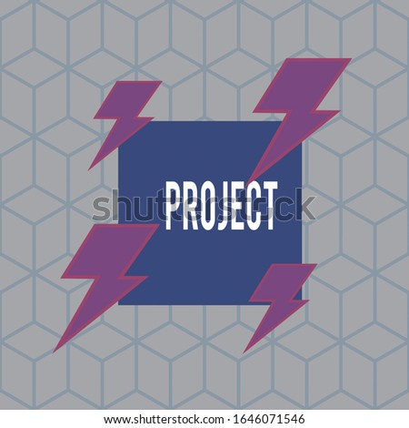Writing note showing Project. Business photo showcasing Planned work activity Study of particular subject Creative job Asymmetrical format pattern object outline multicolor design.