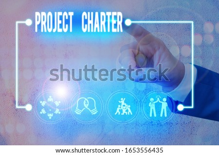 Writing note showing Project Charter. Business photo showcasing typically short formal document that describes your project.