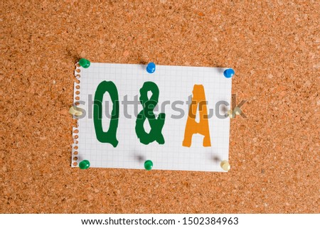 Writing note showing Q And A. Business photo showcasing a period of time or an occasion when someone answers questions Corkboard size paper thumbtack sheet billboard notice board.