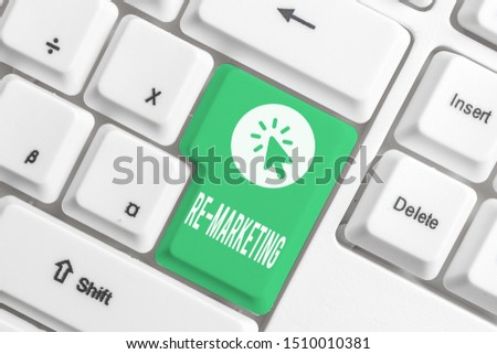 Writing note showing Re Marketing. Business photo showcasing Strategy to reach potential customers in your website White pc keyboard with note paper above the white background.