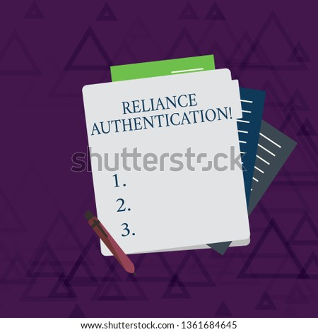 Writing note showing Reliance Authentication. Business photo showcasing part of trust based identity attribution process Lined Paper Stationery Partly into View from Pastel Folder.