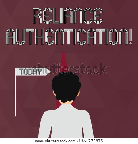 Writing note showing Reliance Authentication. Business photo showcasing part of trust based identity attribution process Man Facing Distance and Blocking the View of Straight Narrow Path.