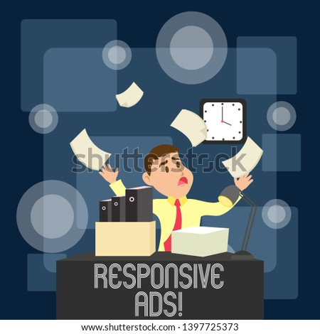 Writing note showing Responsive Ads. Business photo showcasing Automatically adjust form and format to fit existing ad space.
