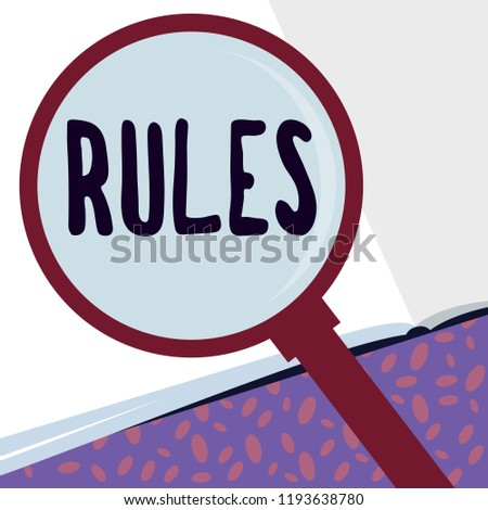 Writing note showing Rules. Business photo showcasing exercise ultimate power authority over area and its people Regulation