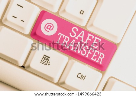 Writing note showing Safe Transfer. Business photo showcasing Wire Transfers electronically Not paper based Transaction White pc keyboard with note paper above the white background. #1499066423