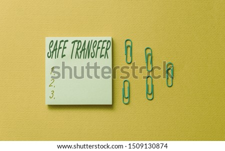 Writing note showing Safe Transfer. Business photo showcasing Wire Transfers electronically Not paper based Transaction Colored blank sticky note clips gathered trendy cool pastel background. #1509130874