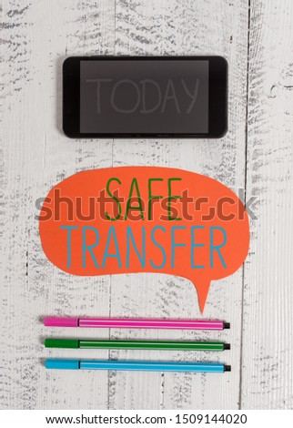 Writing note showing Safe Transfer. Business photo showcasing Wire Transfers electronically Not paper based Transaction Smartphone cell pens blank colored speech bubble wooden background. #1509144020