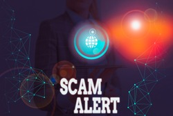 Writing note showing Scam Alert. Business photo showcasing warning someone about scheme or fraud notice any unusual.