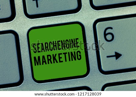 Writing note showing Search Engine Marketing. Business photo showcasing promote Website visibility on searched result pages