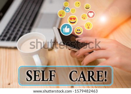 Writing note showing Self Care. Business photo showcasing practice of taking action preserve or improve ones own health.